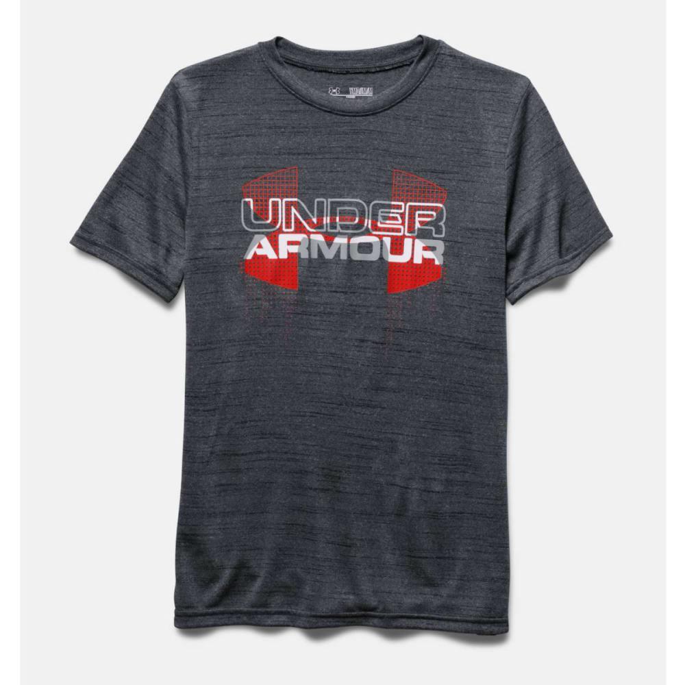 UNDER ARMOUR Boys' Short-Sleeve  Big Logo Hybrid Tee - BLACK