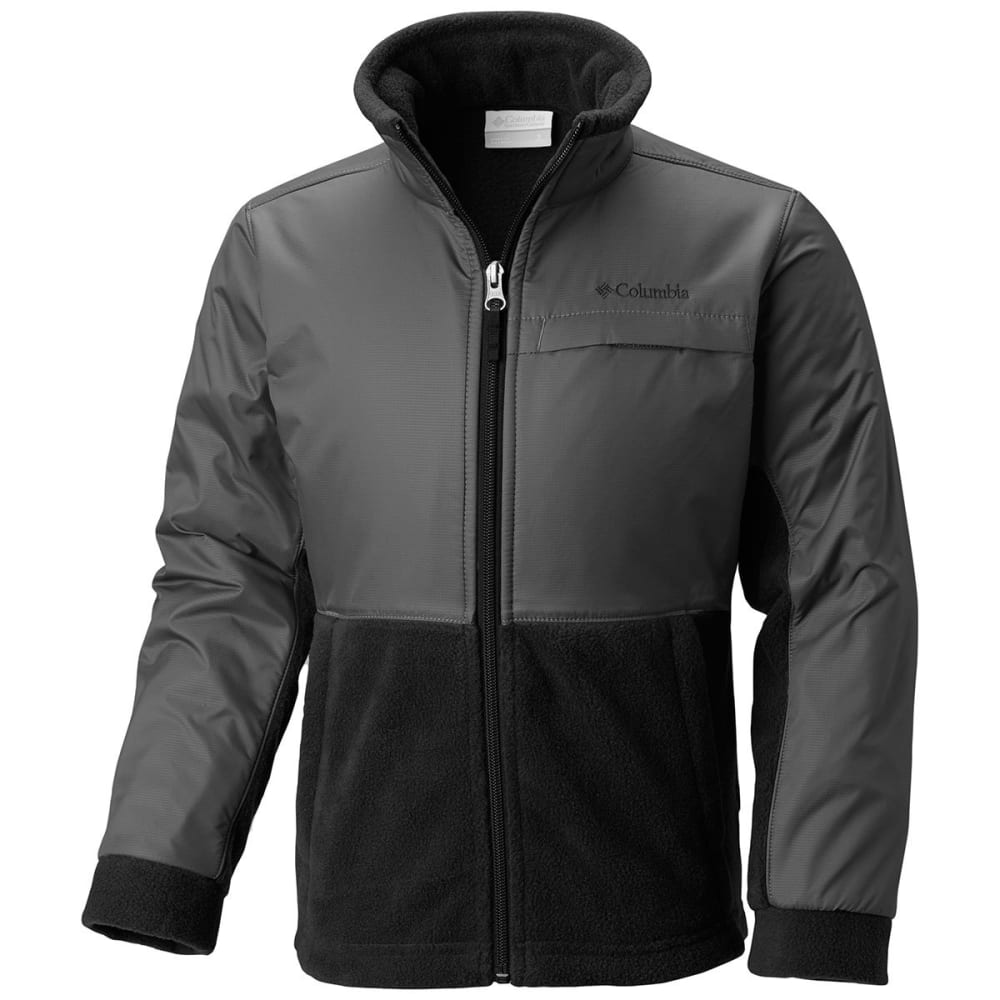COLUMBIA Boys' Steens Mountain Overlay Fleece - BLACK/GRILL-012