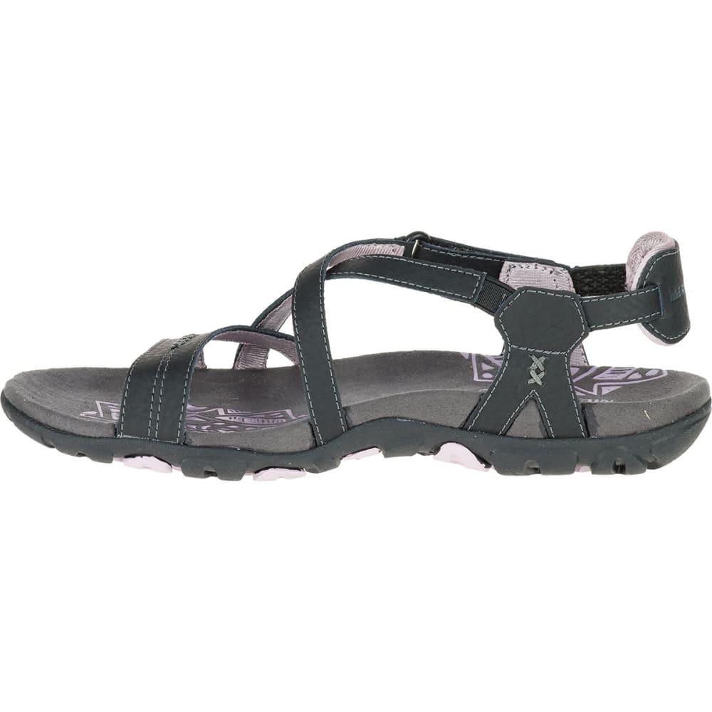 MERRELL Women's Sandspur Rose Leather Sandals - BLACK/LILAC