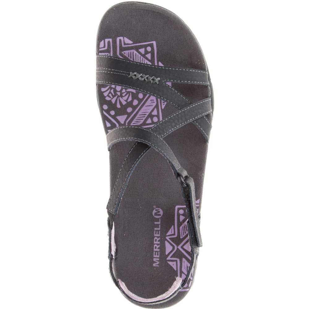MERRELL Women's Sandspur Rose Leather Sandals - BLACK/LILAC