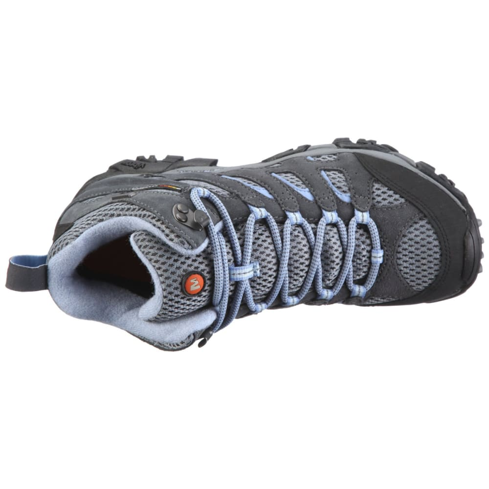 MERRELL Women's Moab Mid WP Hiking Boots, Grey/Periwinkle - GREY