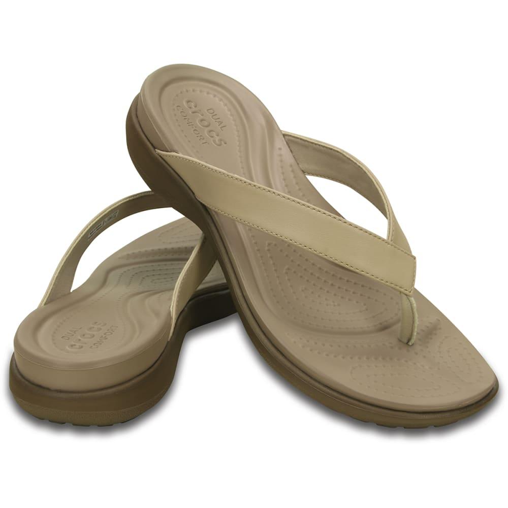 b9877e922 CROCS Women  39 s Capri V Flip Flops - CHAI WALNUT-27L