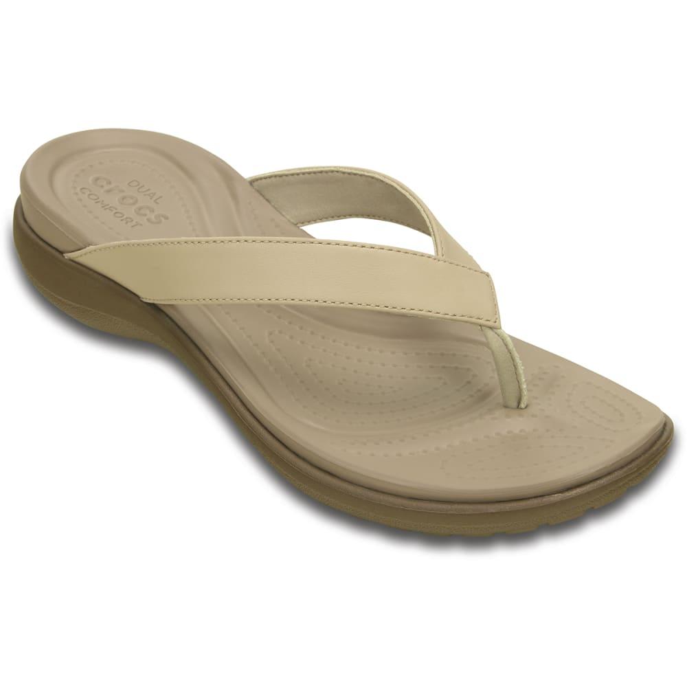 d1575d11e CROCS Women's Capri V Flip Flops - CHAI/WALNUT-27L