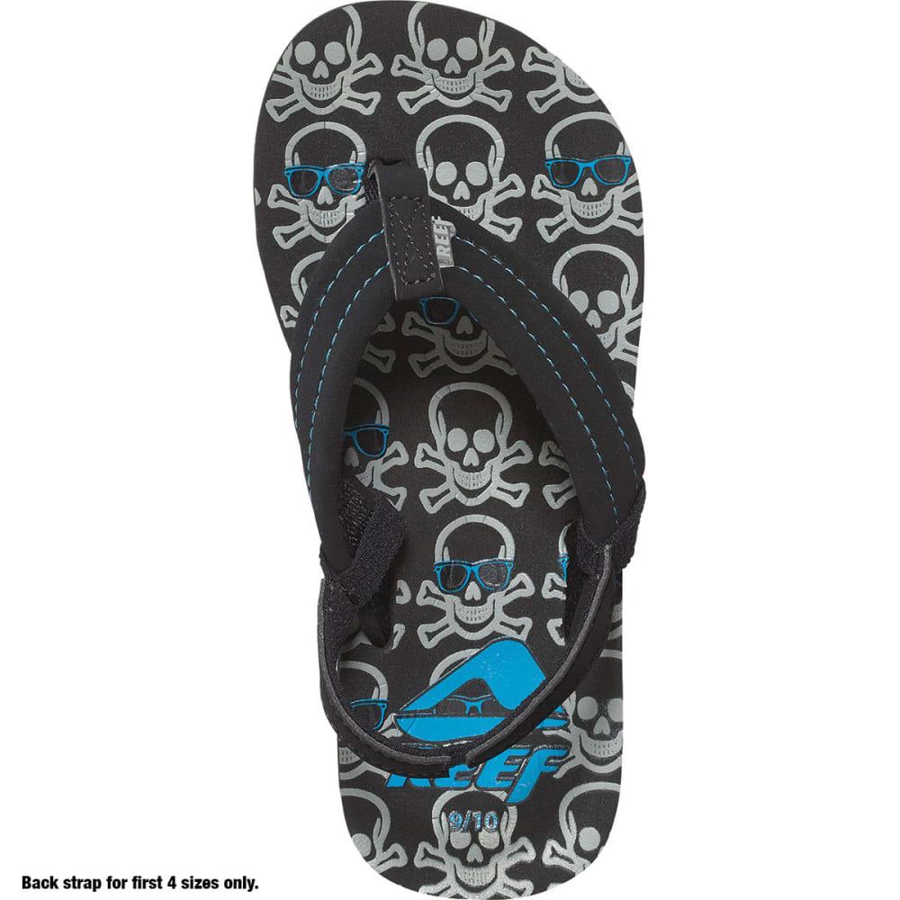 REEF Boys' Ahi Flip-Flops, Grey Skulls - GREY SKULL