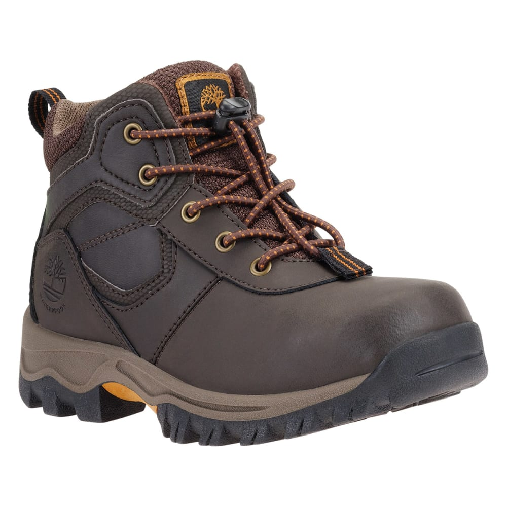 TIMBERLAND Boys' Mt. Maddsen Mid Waterproof Hiking Boots - DARK BROWN