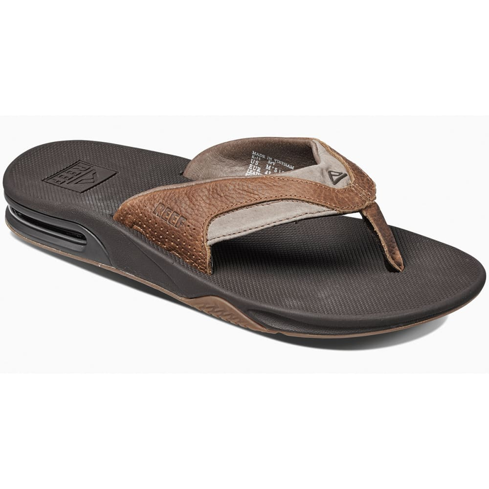 2ea63aec740 REEF Men  39 s Leather Fanning Flip-Flops - BROWN