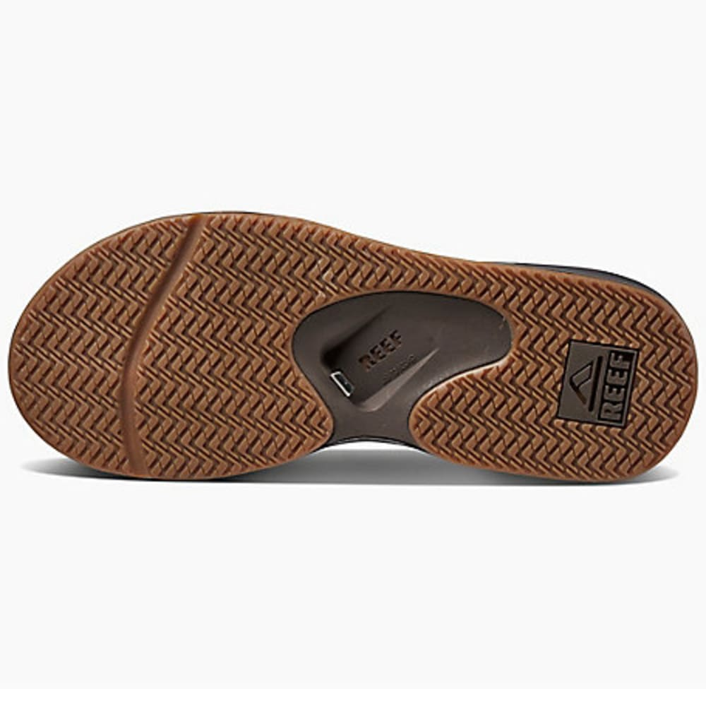 REEF Men's Leather Fanning Flip-Flops - BROWN