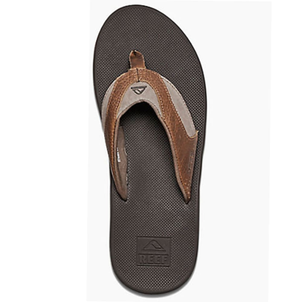 f16e6a5198f1 REEF Men  39 s Leather Fanning Flip-Flops - BROWN