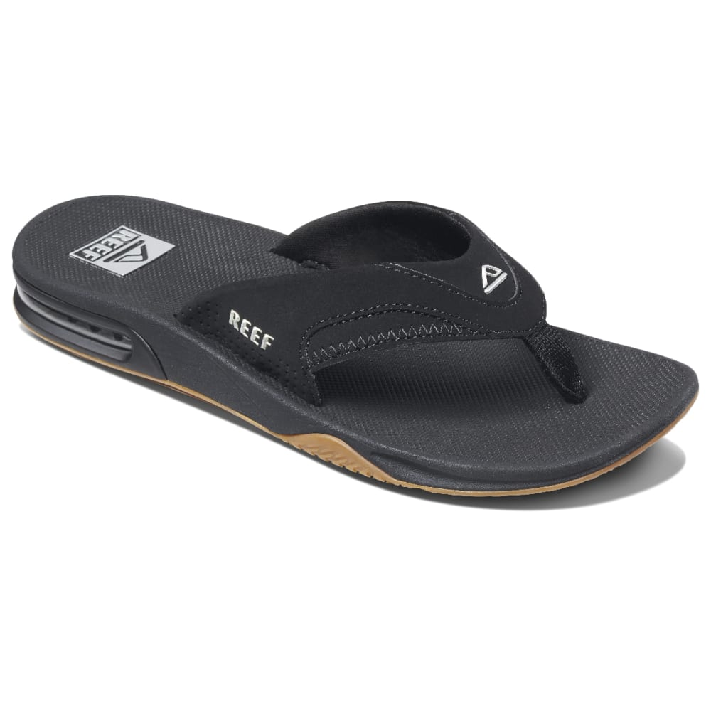 REEF Men's Fanning Flip-Flops, Black - BLACK-BLS