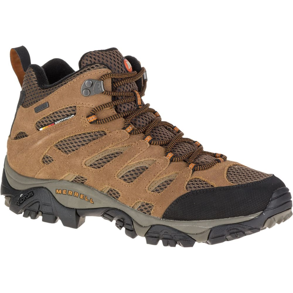 MERRELL Men's Moab Mid WP Hiking Boots, Earth, Wide - EARTH
