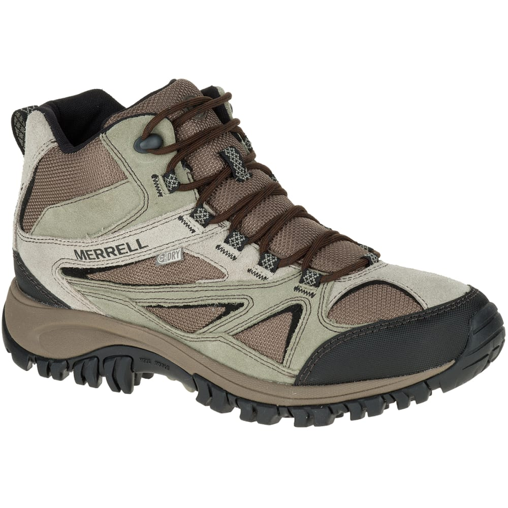 MERRELL Men's Phoenix Bluff Mid Waterproof Hiking Shoes, Wide - BROWN/CHEVRON