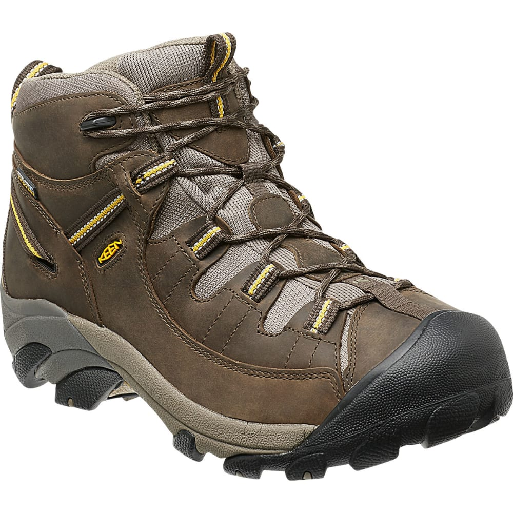 KEEN Men's Targhee II Mid WP Hiking Boots, Black Olive/Yellow 8