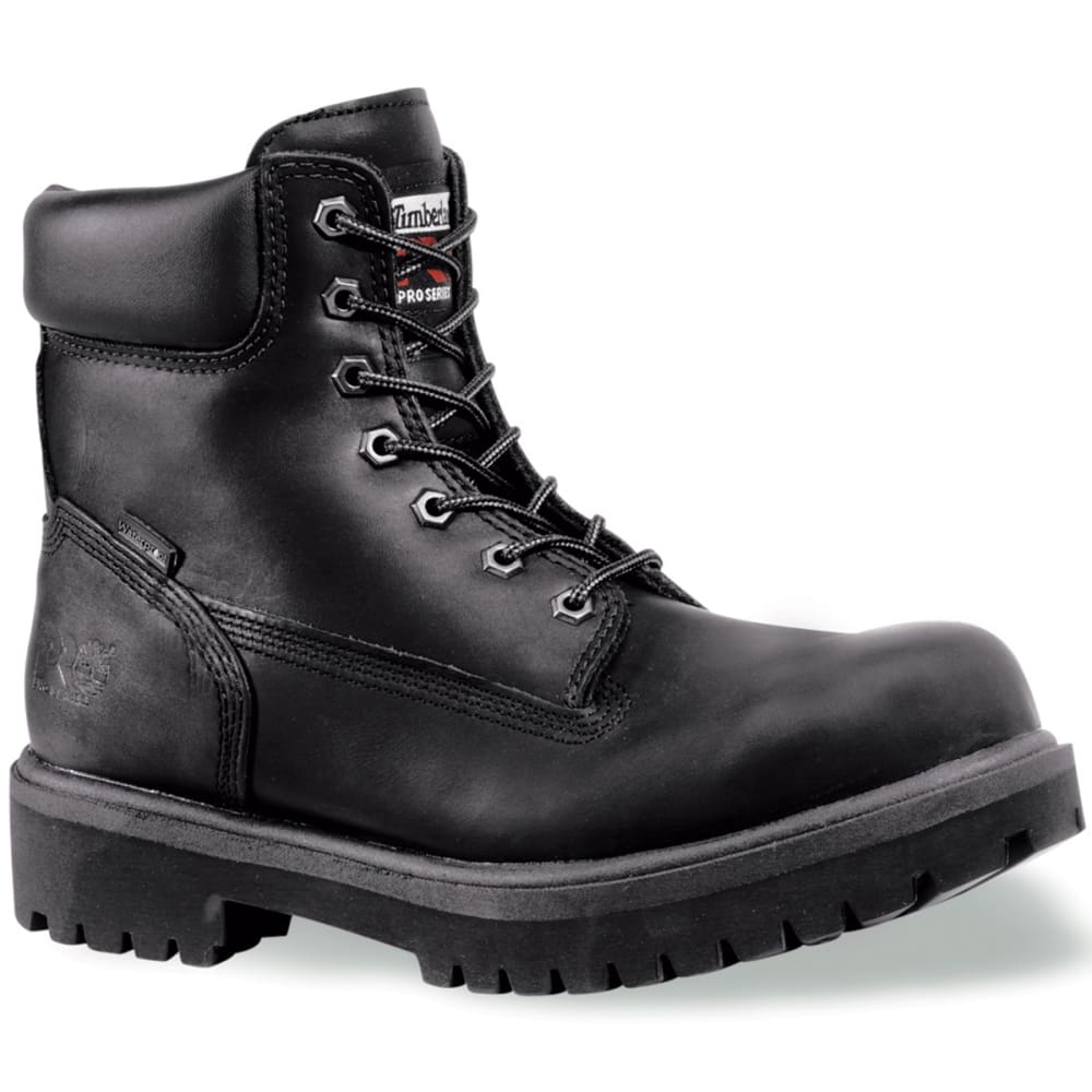 TIMBERLAND PRO Men's Soft Toe Waterproof Work Boots, Smooth Black, Medium 7.5