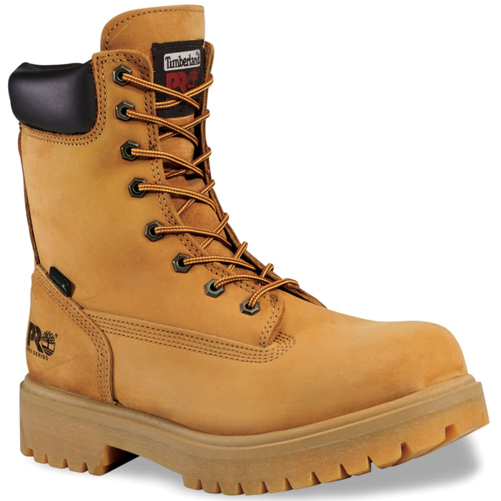 TIMBERLAND PRO Men's 8 inch Soft Toe Waterproof Work Boots, Wide - WHEAT