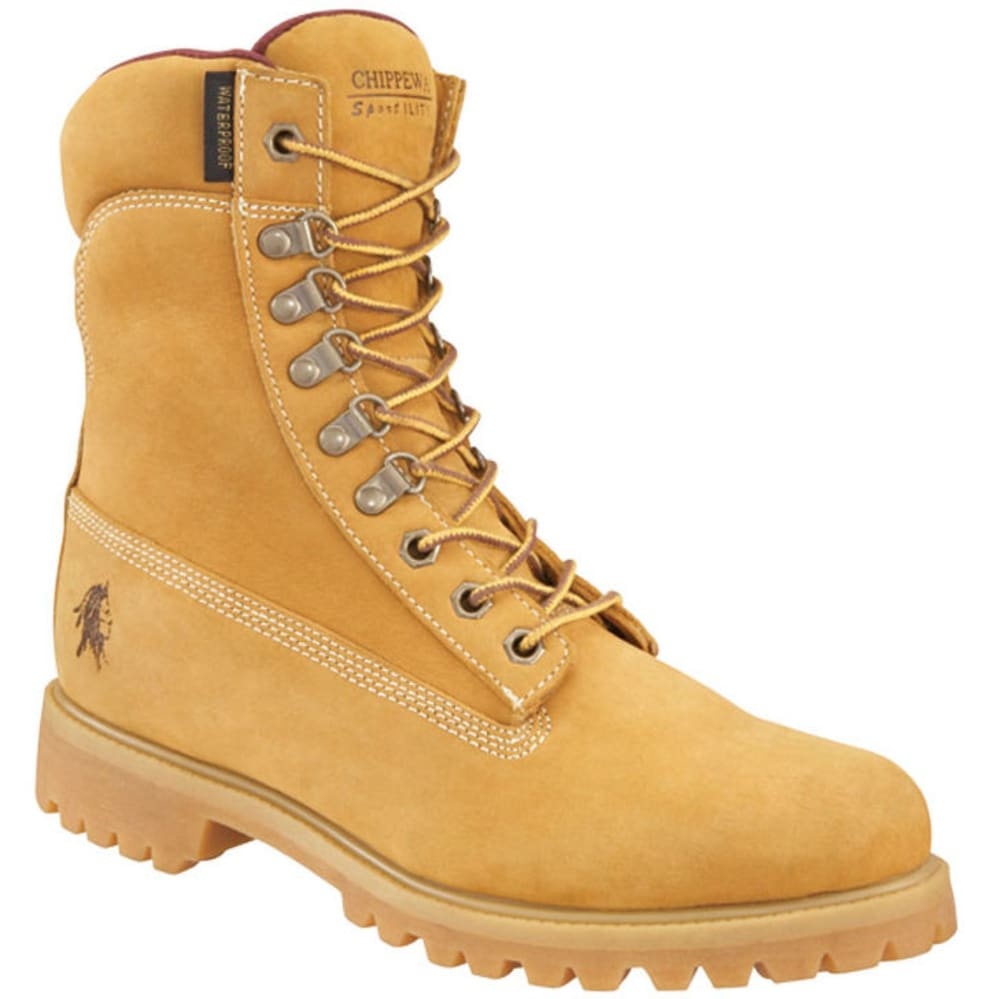 CHIPPEWA Men's 8 in. Nubuc Work Boots, Wide Width - TAN
