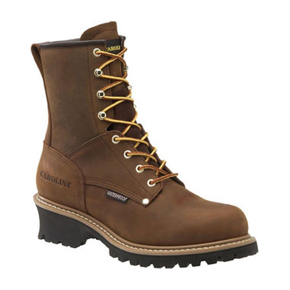 CAROLINA Men's 8 in. Crazy Horse Waterproof Work Boots, Wide Width - BROWN