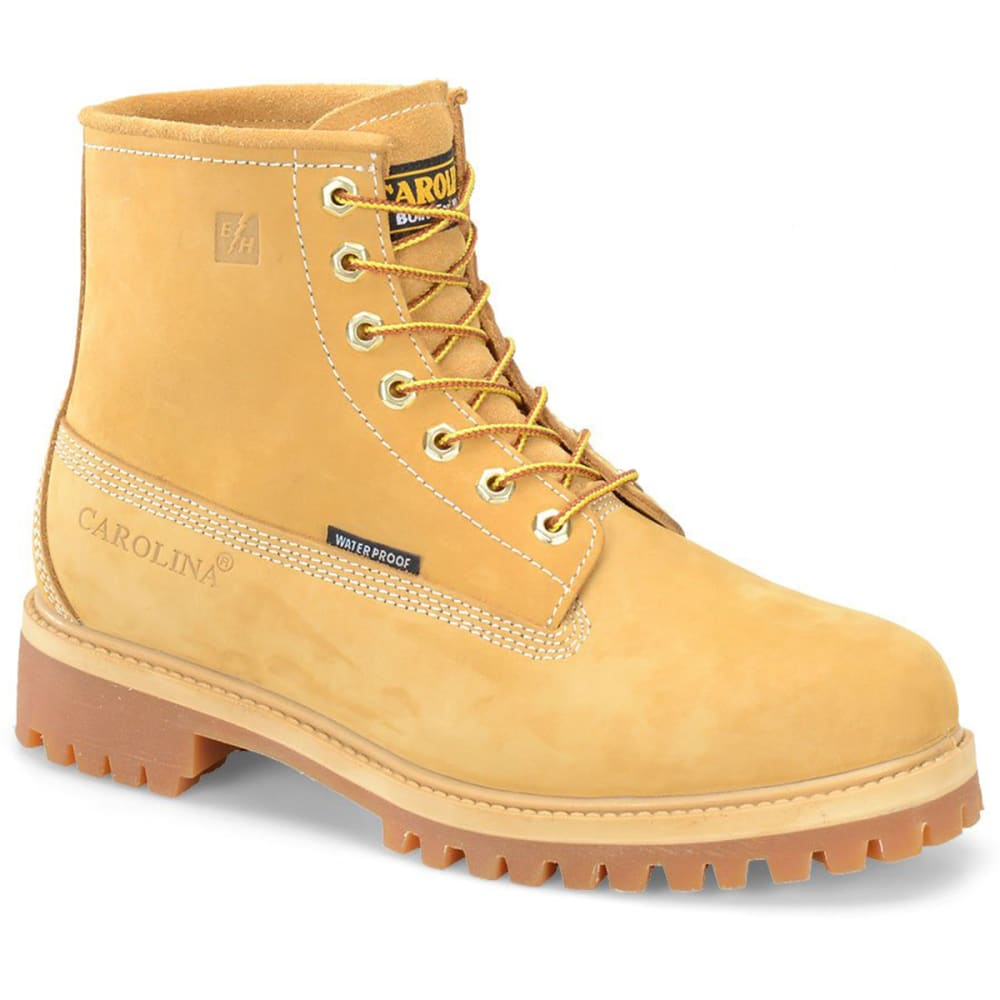 When a day's work calls for a boot as tough as you are, Carolina comes through with their 6 in. waterproof steel toe boot made from Nubuck leather. Wheat Nubuck leather upper. Waterproof SCUBALINER™. Taibrelle lined. Steel shank. Direct attach construction. Rubber lug outsole is oil resistant. Imported.