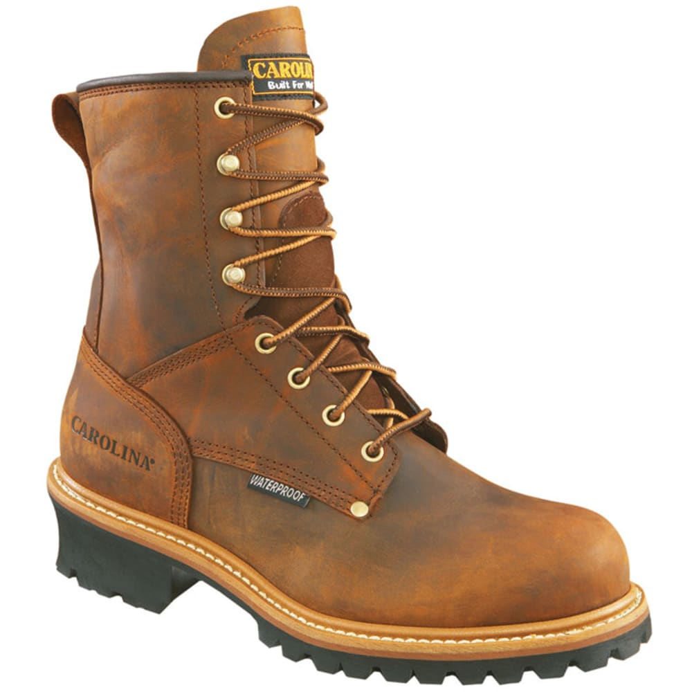 CAROLINA Men's 8 in. Crazy Horse Steel Toe Waterproof Work Boots, Wide Width - BROWN
