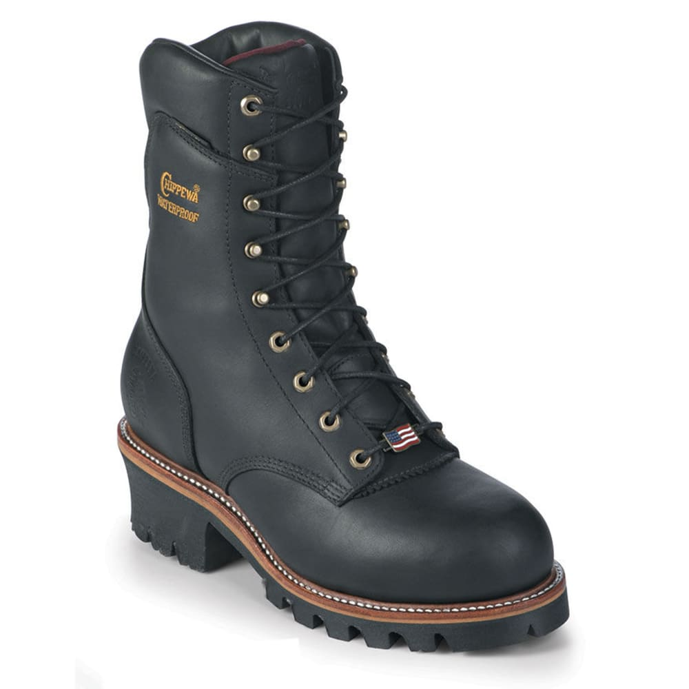 CHIPPEWA Men's 9 in. Black Oiled Logger Steel Toe Boots, Extra Wide - BLACK