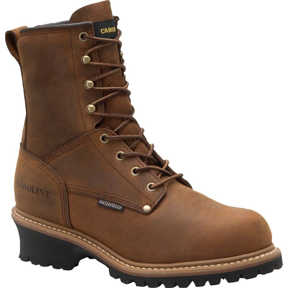 "CAROLINA Men's 8"" Steel Toe Waterproof Insulated Logger Boots, 2E - BROWN"