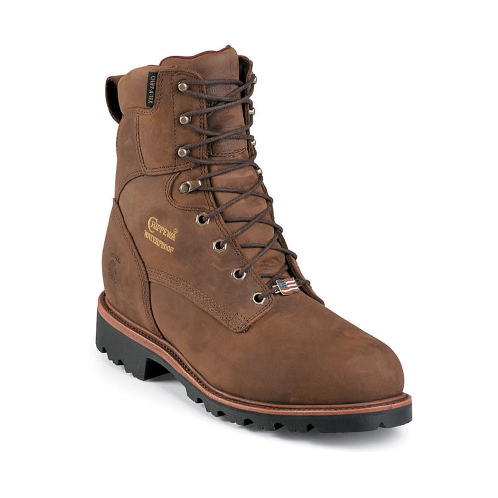 CHIPPEWA Men's 8 in. Waterproof Insulated Steel Toe EH Lace Up Boots, Extra Wide - BROWN