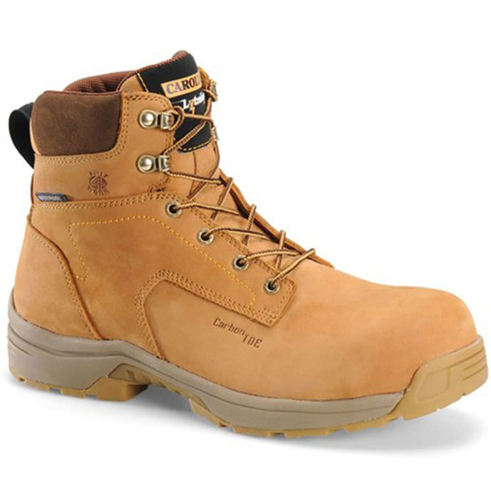 These waterproof, lightweight Carolina workboots offer protection from electrical hazards and crushing injuries. Nubuck leather upper. Waterproof SCUBALINER™ for breathable waterproof protection. Electrical hazard rated. Carbon composite fiber toe cap. Mesh lining for cool breathability. EVA midsole provides ample support. Removable comfortable footbed. Supportive non-metallic shank. Molded arch support. Lightweight cement construction. Oil- and slip-resistant rubber outsole. Vendor Style: LT651 D.
