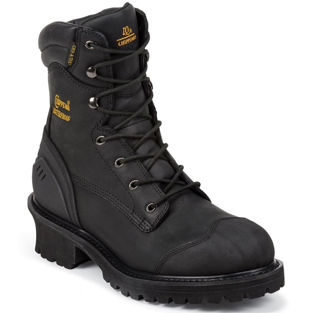 CHIPPEWA Men's 8-Inch Oiled Composition Toe Logger Rugged Boots, Extra Wide Width - BLACK
