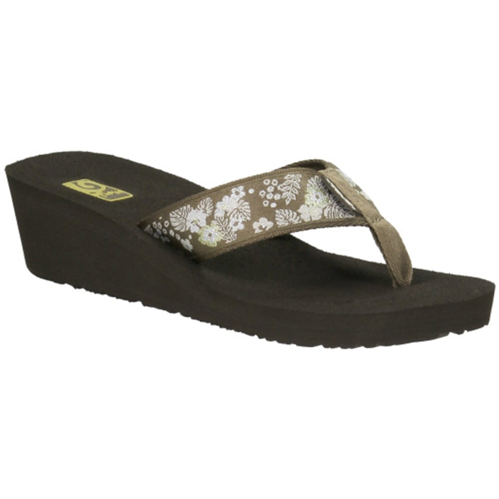 TEVA Women's Mush Mandolyn Wedge 2 Flip-Flops, Palm Flower Brown - BROWN