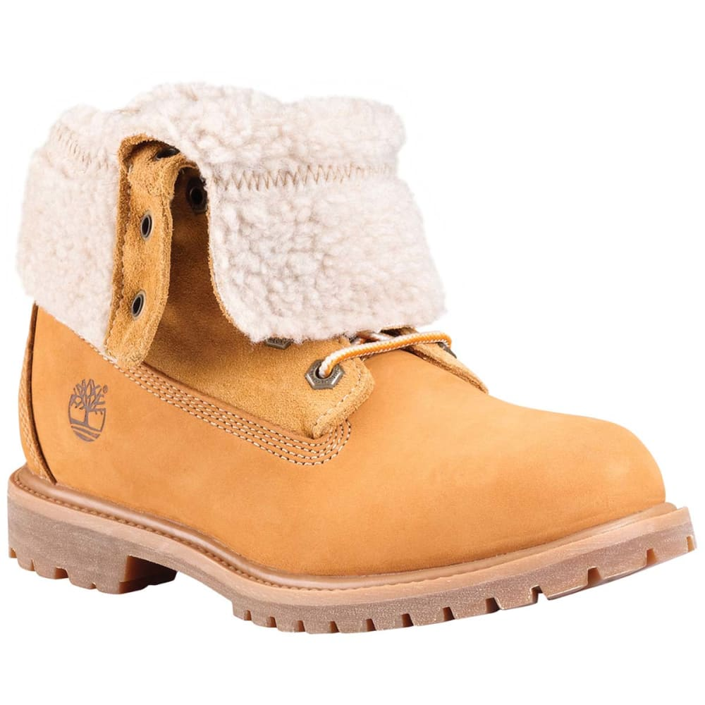 TIMBERLAND Women's Authentics Teddy Fleece Fold-Over Boots - WHEAT MEDIUM