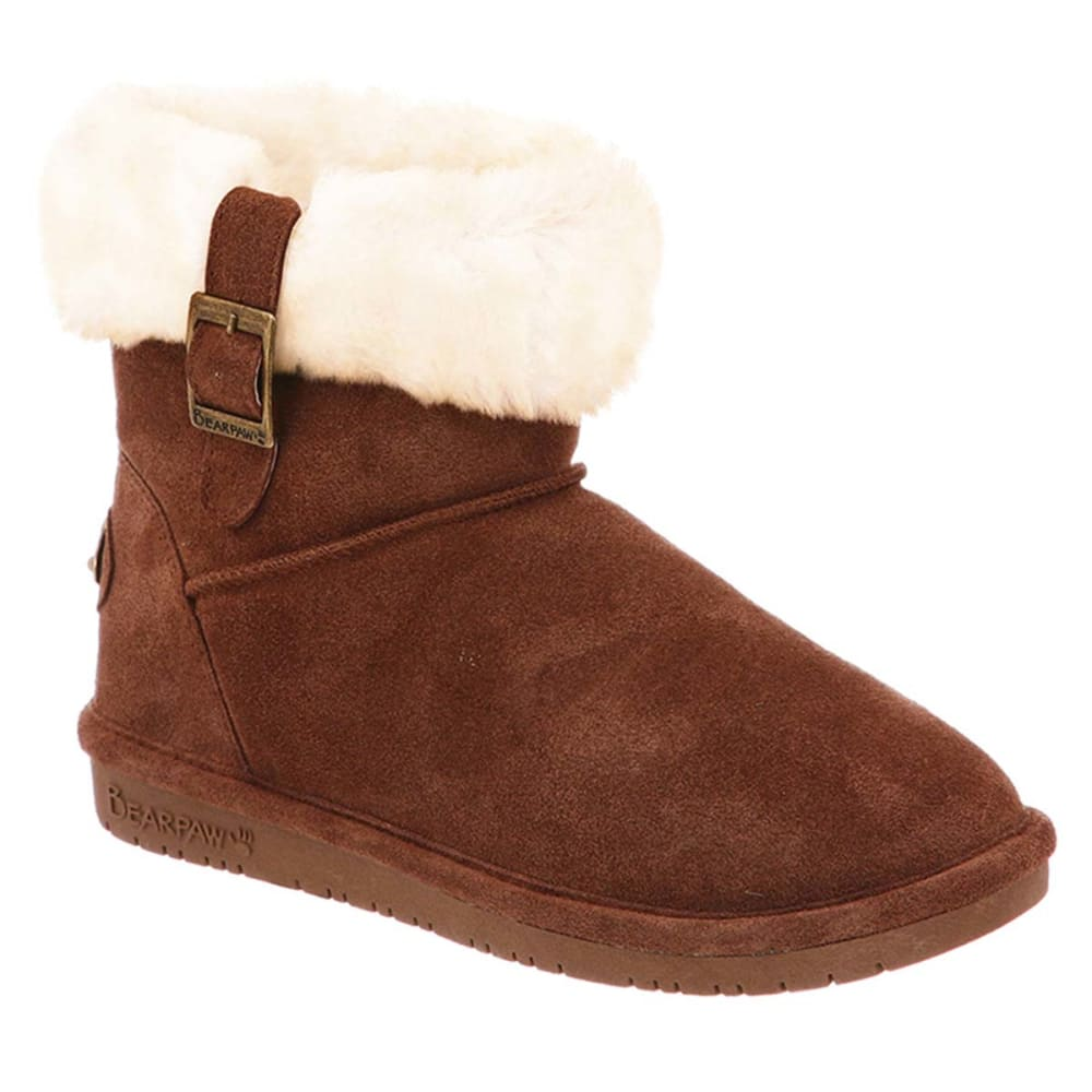 BEARPAW Juniors' Abby Boots, Hickory - KHAKI/OYSTER