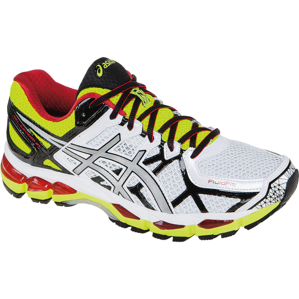 asics men 39 s gel kayano 21 road running shoes white yellow. Black Bedroom Furniture Sets. Home Design Ideas