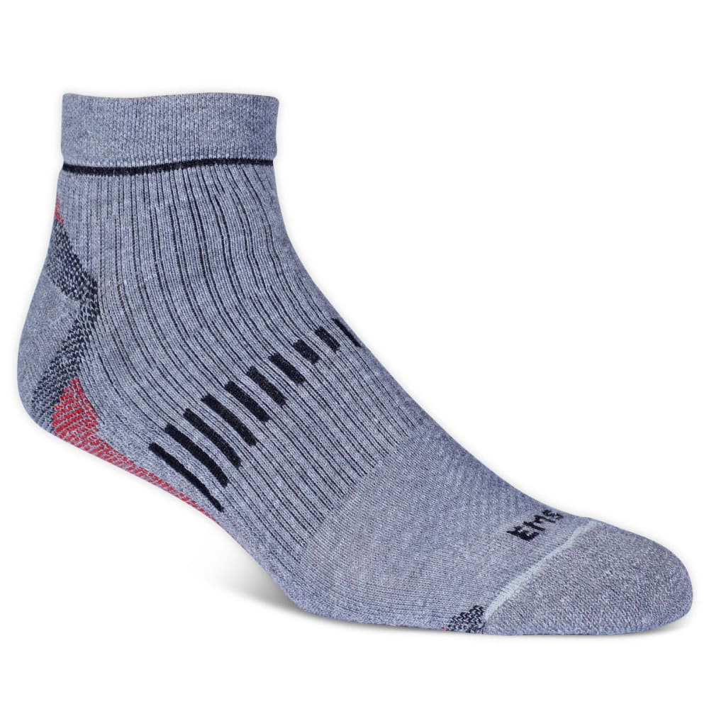 Ems Men's Fast Mountain Lightweight Coolmax Quarter Socks, Grey  - Black EC3M-GRY