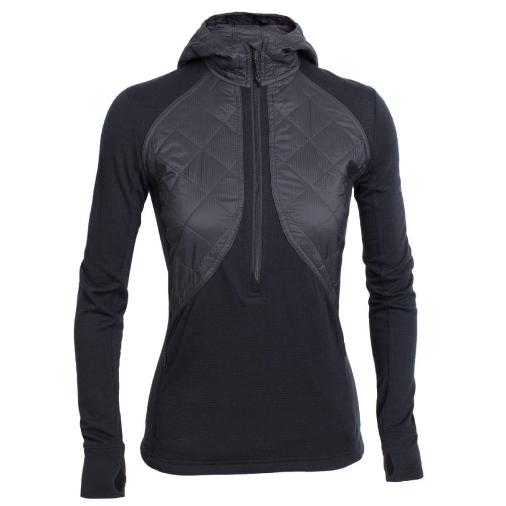 ICEBREAKER Women's Ellipse Long Sleeve Half Zip Hood - BLACK/BLACK