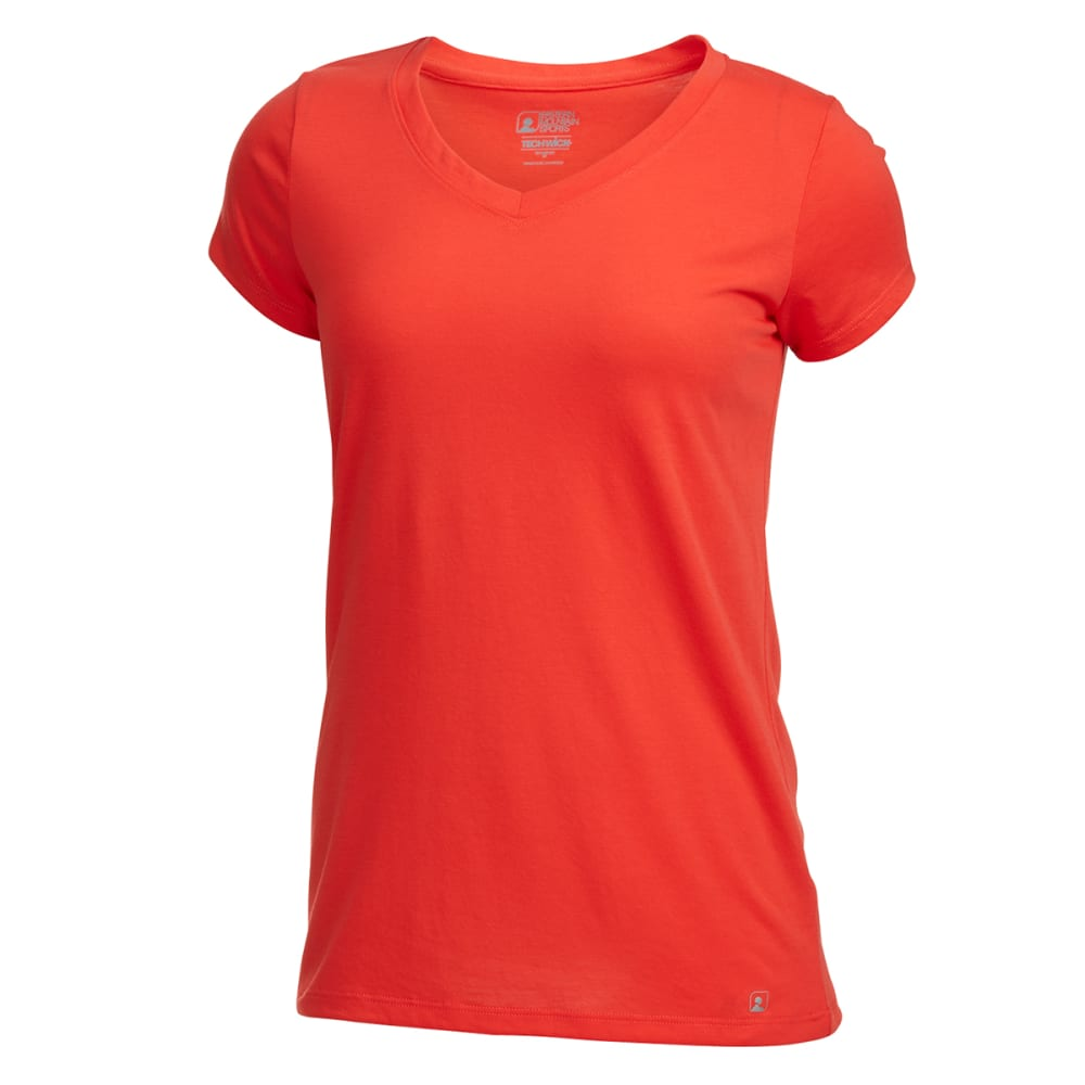 EMS® Women's Techwick® Vital V-Neck Tee  - POPPY