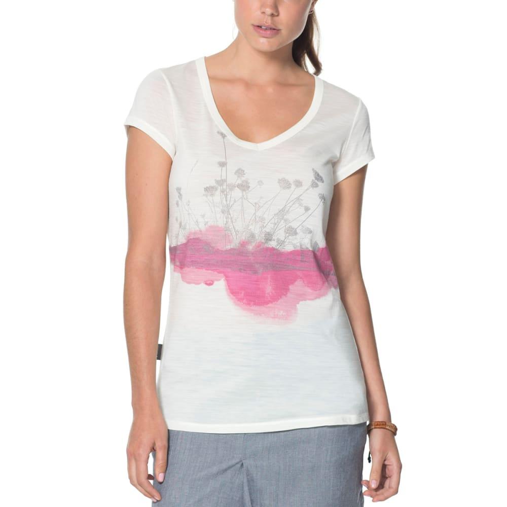 ICEBREAKER Women's Cool-Lite Spheria Short-Sleeve V-Neck Lace Tee - SNOW