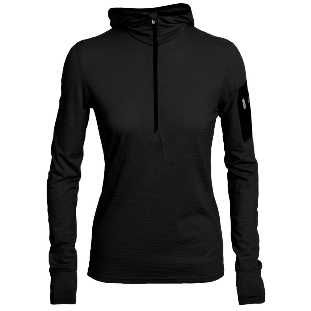 ICEBREAKER Women's Terra Long Sleeve Half Zip Hood - BLACK/ BLACK/ BLACK