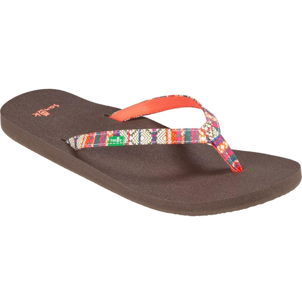 SANUK Women's Yoga Joy Flip-Flops, Olive/Multi Stripe - OLIVE