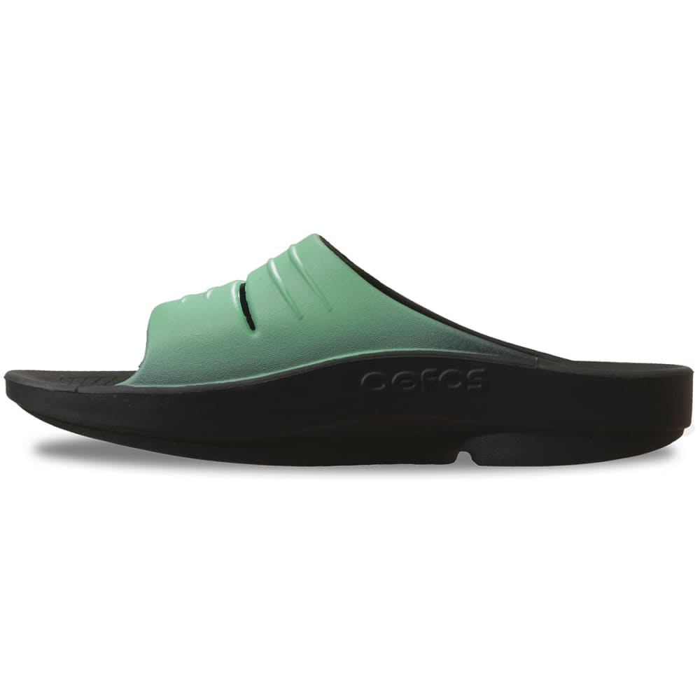 OOFOS Women's OOlala Slide Sandals, Black/Seafoam - BLACK