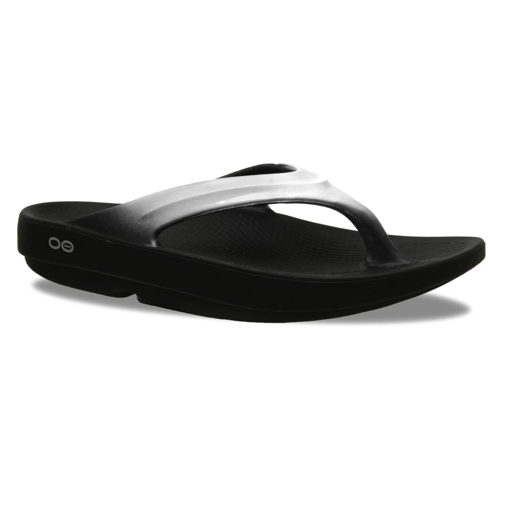 OOFOS Women's OOlala Thong Sandals, Black/Cloud White - BLACK