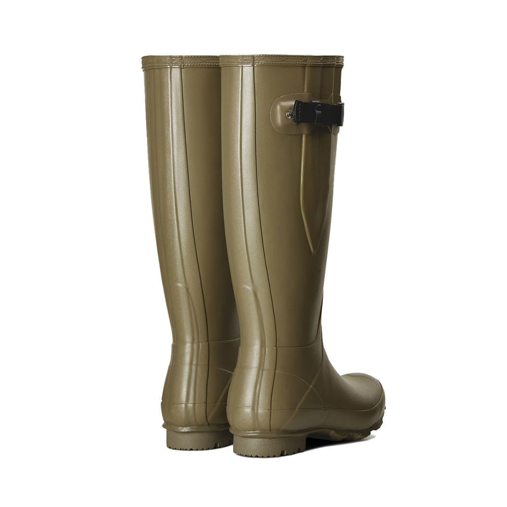 HUNTER Women's Norris Field Side Adjustable Rain Boots, Clay/Bright Lime - CLAY