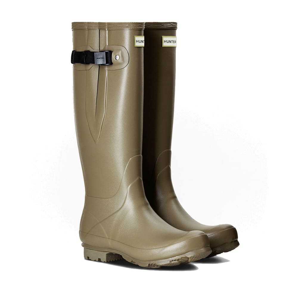 HUNTER Women's Norris Field Side Adjustable Rain Boots, Clay/Bright  Lime -