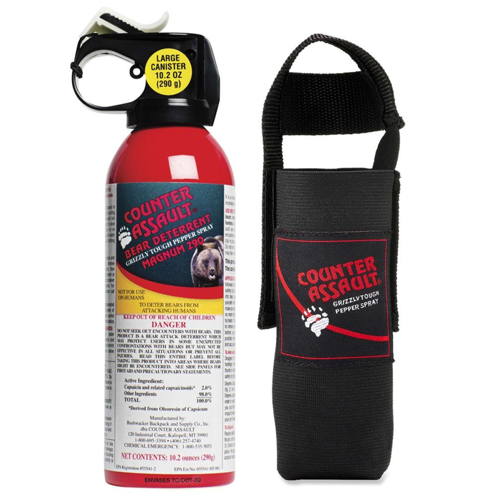 COUNTER ASSAULT Bear Deterrent 10.2 Oz Pepper Spray with Belt Holster - RED