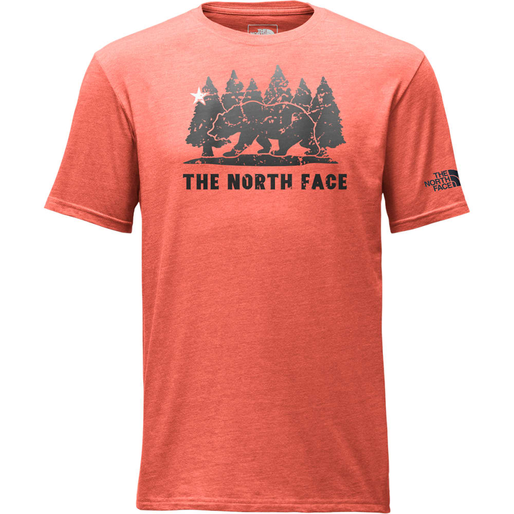 THE NORTH FACE Men's Cali Bear Tri-Blend Short-Sleeve Tee - -HGW POINCIANA ORANG