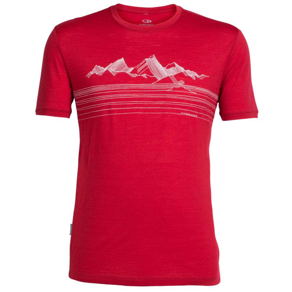ICEBREAKER Men's Tech Lite Short Sleeve Crewe, Approach - OXBLOOD/SNOW