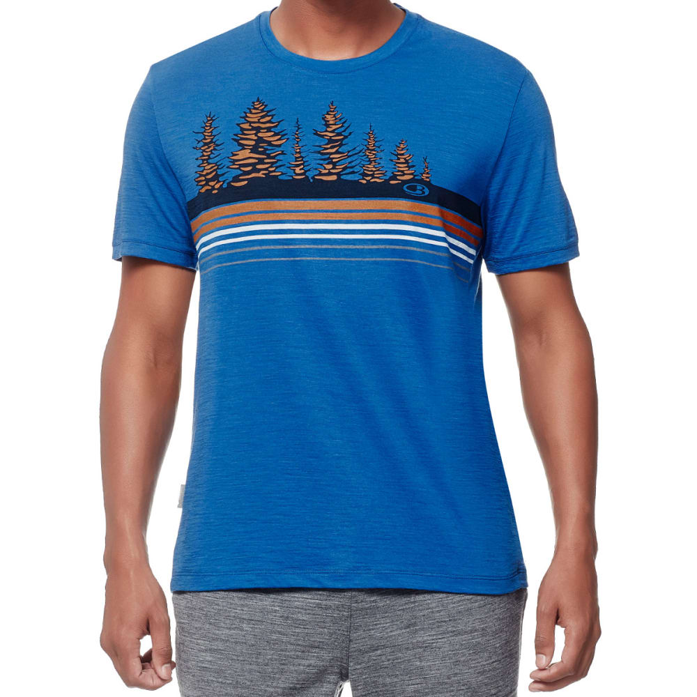 ICEBREAKER Men's Tech Lite Short Sleeve Crewe, Tree Line - PELORUS/BOLT