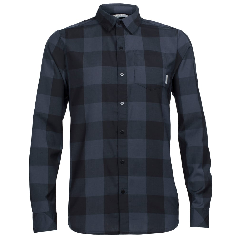 ICEBREAKER Men's Departure II Long Sleeve Plaid Shirt - BLACK/STEALTH