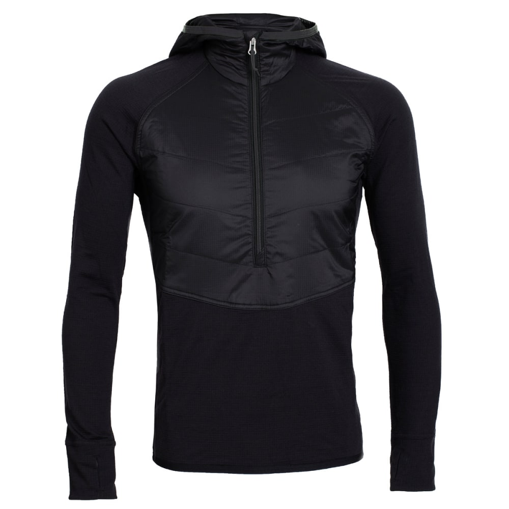 ICEBREAKER Men's MerinoLOFT Ellipse Long Sleeve Half Zip Hood - BLACK/BLACK/METAL