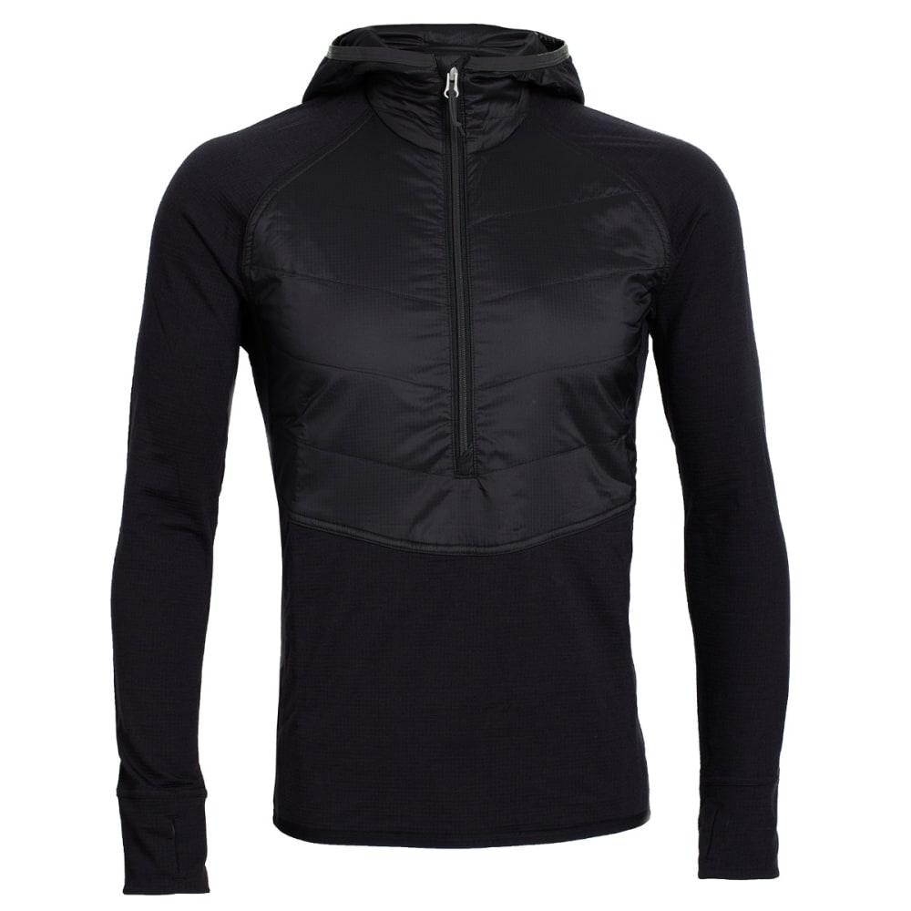 ICEBREAKER Men's MerinoLOFT Ellipse Long Sleeve Half Zip Hood - BLACK/BLACK/METAL