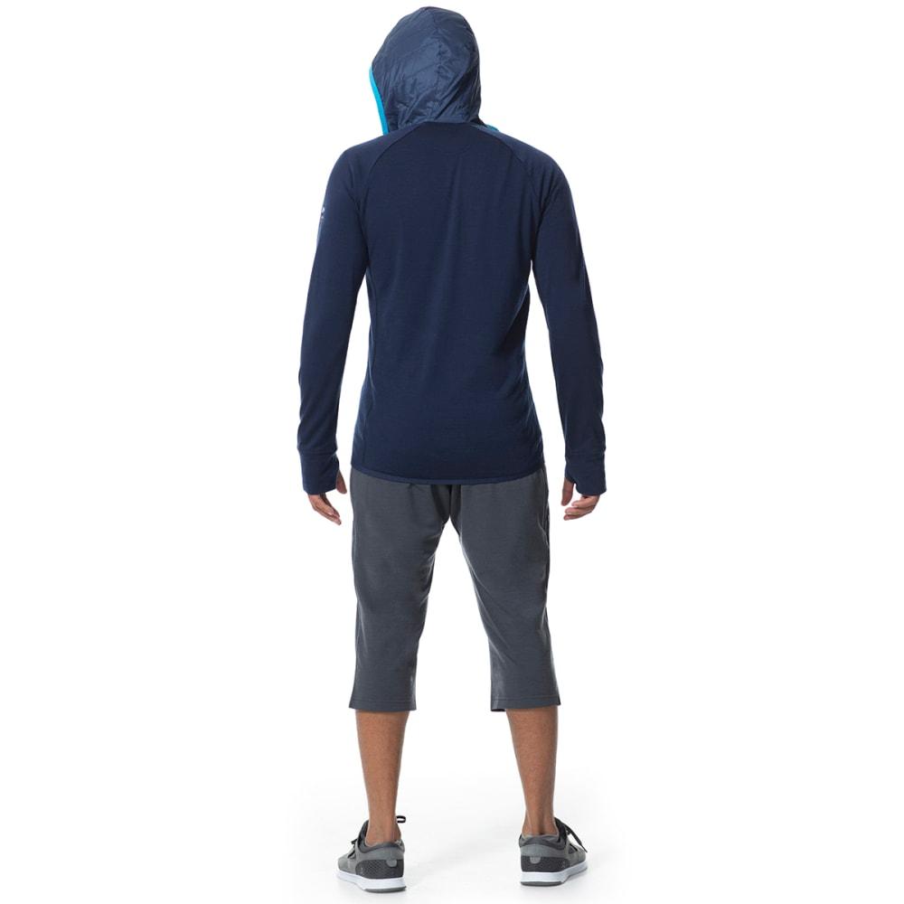 ICEBREAKER Men's MerinoLOFT Ellipse Long Sleeve Half Zip Hood - ADMIRAL/ADMIRAL/CYAN