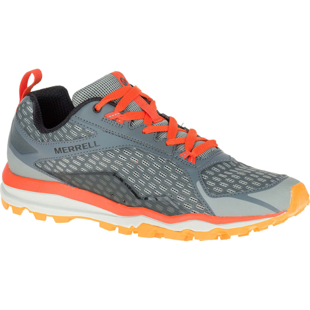 MERRELL Men's All Out Crush Trail Running Shoes, Grey/Orange - GREY